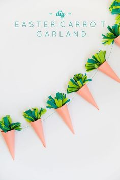 Need some cute last minute Easter decor ideas? & about this adorable Easter Carrot Garland? Easter Crafts For Kids, Crafts To Do, Easter Ideas, Egg Crafts, Spring Crafts, Holiday Crafts, Diy Osterschmuck, Diy Girlande, Easter Garland