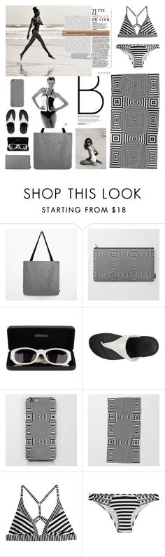 """""""Beach elegance in grayscale"""" by natalia-bykova ❤ liked on Polyvore featuring Versace, FitFlop, Paolita, beach, BlackWhite and society6"""
