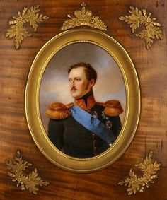 MINIATURE PORTRAIT of Tsar Alexander I, Russia circa 1820, on porcelain, birch wood frame, gilded frames and fittings.