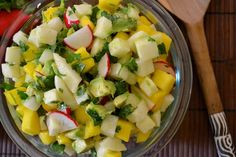 Mango Jicama Avocado Salad (omit radishes, lemon, and vinegar; use either mango or pinapple) thefreshfind.com