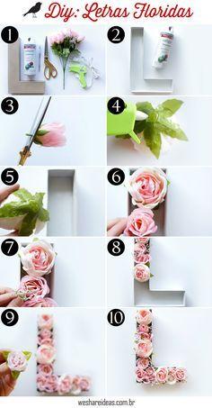 letras decoradas com flores