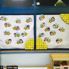 @yoon_egg 선생님표 꿀벌 환경구성  너희들ㅋㅋㅋ 잘해보자구 #새학기 #환경구성 #봄 #봄환경구성 #꿀벌 #계란판 #아동미술
