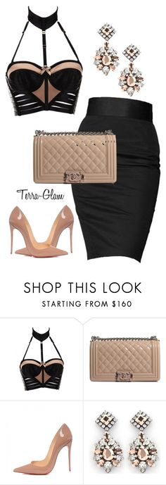"""She Slays All Day!"" by terra-glam ❤ liked on Polyvore featuring Bordelle, Rock & Republic, Chanel, Christian Louboutin and Darya London"