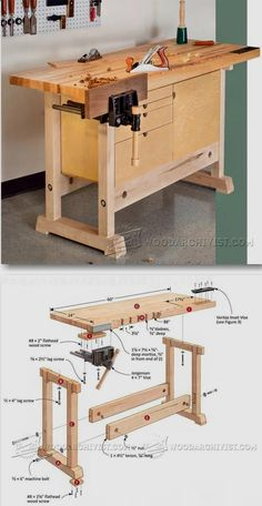 Compact Workbench Plans - Woodworking Plans and Projects | WoodArchivist.com #WoodworkingBench #WoodworkPlans