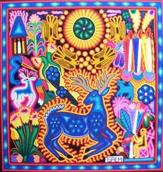The Huichol Deer Repopulation Project: I learned that encroachment and poaching had decimated the deer population in Huichol land. By Luis Guerra South American Art, Native American Art, Mexican Artists, Mexican Folk Art, Huichol Art, Kunst Der Aborigines, Mexican Pattern, Yarn Painting, Indigenous Art