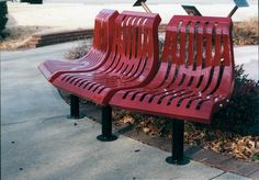 Downtown Classic Series Bench.  Threee seats that are curved.  Concave or Convex Curve are available.  www.alphaplaygrounds.com