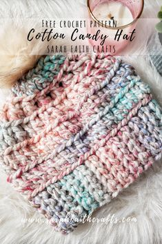 Super easy and fast crochet hat pattern. This hat can be finished in under one hour using Lion Brand Wool-Ease Thick & Quick. Free Crochet Pattern - Cotton Candy Hat Sarah Faith Crafts - Free Knitting and Cro Chunky Crochet Hat, Crochet Kids Hats, Crochet Beanie Pattern, Crochet Crafts, Crochet Projects, Crocheted Hats, Free Crochet Hat Patterns, Lion Brand Free Patterns, Crochet Headband Free