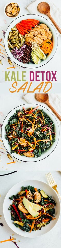 This kale detox salad is loaded with crunchy raw vegetables, marinated mushrooms and roasted Brussels sprouts toss in an easy balsamic dressing. #detoxsalad #recipe #healthyrecipe Healthy Salad Recipes, Detox Recipes, Soup Recipes, Vegan Recipes, Avocado Recipes, Lunch Recipes, Summer Recipes, Free Recipes, Salads