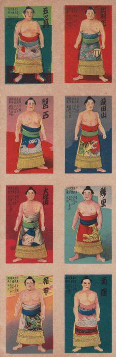 Vintage Sumo wrestler postcards. ca. 1920's-1930's. #JapaneseDesign