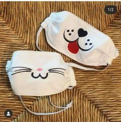 Face Masks For Kids, Easy Face Masks, Diy Face Mask, Machine Embroidery Designs, Hand Embroidery, Sewing Crafts, Sewing Projects, Dog Mask, Halloween Masks