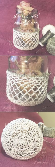 Glass jar with crocheted cover. Nice for storage dried roses. Or maybe I´ll put some plants in. Drying Roses, Shops, Glass Jars, Punch Bowls, Decorative Bowls, Storage, Nice, Cover, Plants