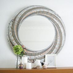 "Bronze Mirror Art, Mosaic Mirror, Art Deco, Wall Mirror, Bedroom Decor, Framed Mirror, Wall Art, Unique Mirror, ""Vortex"" – 90cm diameter"