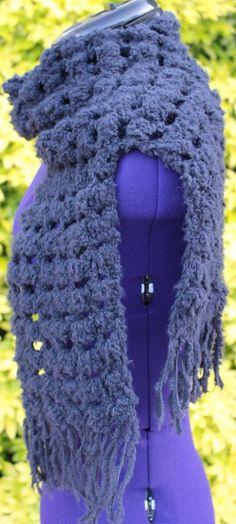Écharpe en laine, étole au crochet, tour de cou snood noir, foulard fait 70062511c58