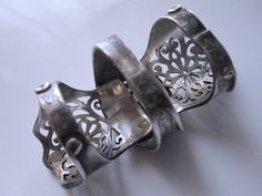 Vintage Sterling Renaissance Goth Armor Jointed Finger Ring from annamae1 on Ruby Lane