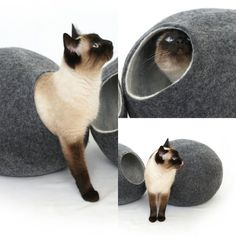 Modern house for modern cat. Art design from wool felt, each as unique as your cat. Living, sleeping space for your beloved best friend, made with soft hands and wild heart from high-quality, natural, ecological Australian merino wool. Perfect for Cats to play and sleep inside or on top. Comfortable bed for your pets healthy sleeping and rest. TECHNIQUE: handmade, wet felted.     •Handmade, wool felt cat house are durable and easily cleaned.  •Comfortable bed for your pet's healthy…