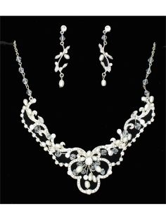 Silver-Tone Freshwater Simulated Pearl Crystal Bridal Necklace Earring Set #bride #wedding #necklace
