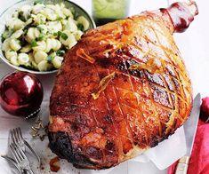Australian Gourmet Traveller recipe for orange-glazed ham with potato and parsley salad. Christmas Ham Glaze, Christmas Ham Recipes, Christmas Food Gifts, Christmas Things, Orange Recipes, New Recipes, Salad Recipes, Orange Glazed Ham, Parsley Salad