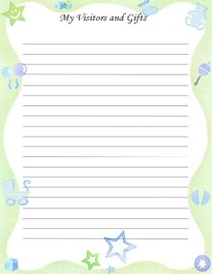"""Free Printable Baby Book Page, """"My Visitors & Gifts"""""""