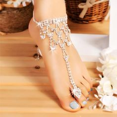 b54e36e888fcd4 Hot Fashion Women Crystal Barefoot Sandals Beach Wedding Foot Anklet -  Walmart.com