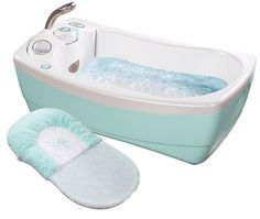 Summer Infant -http://www.summerinfant.com/Products/Bathing/Tubs/Lil--Luxuries-Whirlpool,-Bubbling-Spa---Shower.aspx
