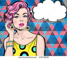 Pop Art illustration of girl with the speech bubble.Pop Art girl. Party invitation. Birthday greeting card.Hollywood movie star.Comic woman with speech bubble.Sexy girl. Magazine cover girl.Supermodel
