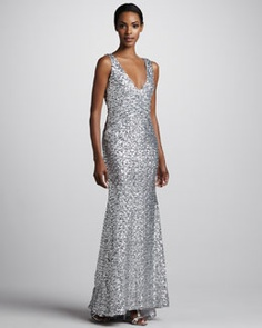 Mark + James by Badgley Mischka Sleeveless Sequined Gown - $420