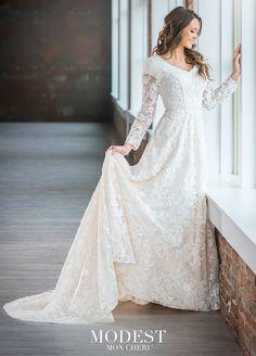 Modest Bridal by Mon Cheri Lace Bridal Gown Wedding Dress Sizes, Wedding Dress Sleeves, Modest Wedding Dresses, Designer Wedding Dresses, Bridal Dresses, Wedding Gowns, Wedding Shoes, Lace Wedding, Crystal Wedding