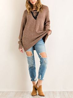 MELANGE SWEATER WITH LACE-UP DETAIL