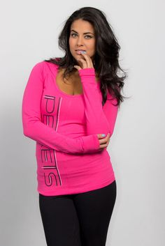 Hot and sexy Fashion Hoodie for Women - Neon Pink, fitted top, Perets style, Joshua Perets Girl Fashion, Fashion Outfits, Fashion Trends, Seat Belts, Urban Looks, Workout Tops, Color Mixing, Fabrics, Neon