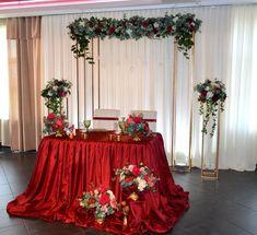 Olga Andriianova Church Altar Decorations, Wedding Stage Decorations, Decoration Table, Red Wedding, Wedding Table, Wedding Flowers, Fall Wedding, Wedding Dress Cake, Rustic Centerpieces