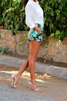 High waisted shorts nude heels a leg Pursuit of Shoes nude heel |2013 Fashion High Heels|
