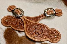Custom spur straps for a Christmas order! #spurstraps #customleather #cowboygear #cattlebrand