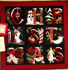 Christmas sampler quilt at Country Sampler. Pattern by Buttermilk Basin. Quilting Projects, Sewing Projects, Wool Felt, Felted Wool, Christmas Wall Hangings, Country Sampler, Sampler Quilts, Block Of The Month, Penny Rugs