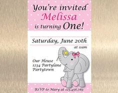 Elephant Birthday Invitation  1st Birthday by JennyIllustrations