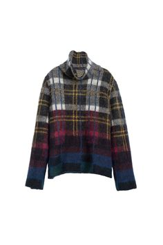 Multicolored Plaid Mohair Turtleneck Sweater