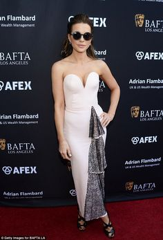 Kate Beckinsale accessories her plunging pink gown with large circular sunglasses at BAFTA event   Daily Mail Online