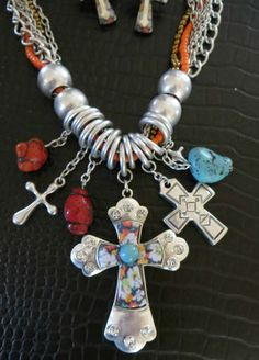 LAST ONE! Cowgirl Bling CROSS RHINESTONES Unique Charms Chunky WESTERN Necklace set BAHA RANCH WESTERN WEAR EBAY SELLER ID SOLOEDITION