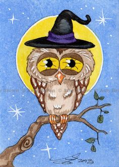 halloween witch Watercolor  paintings | ORIGINAL HALLOWEEN owl witch ACEO painting by Amy Brown
