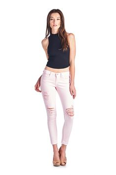 Parkers Jeans - D5333 - Rose  #frayed #denim #ankle #skinny #distressed #ripped #jeans #frayedhem #midrise #lookbook
