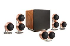 People's Choice Home Theater Speaker System...  Our most popular system and best bang for the buck, featuring our Orb Mod2 speakers for all front channels and single Orb Mod1 for all surround channels (5.1, 6.1 and 7.1 and more).  Shown here in Hand Antiqued Copper on Stainless BOSS table stands. These small home theater speakers are perfect for apartments or living rooms in houses.