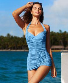 DKNY Swimsuit, Halter Shirred Swim Dress