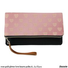 rose gold glitter love hearts polka dots pattern clutch