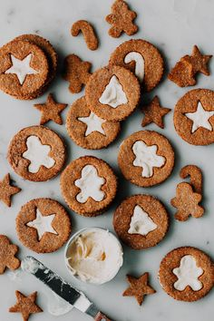 Gingerbread Linzer Cookies with Fresh Ginger Cream recipe by Editors Tea Cakes, Christmas Desserts, Christmas Baking, Christmas Dishes, Christmas Holiday, Baking Recipes, Cookie Recipes, Linzer Cookies, Crack Crackers