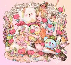 Spot how many hearts are in this picture (including tata) :] Yoonmin Fanart, Jimin Fanart, Kpop Fanart, Jikook, Bts Pictures, Photos, Namjin, Chibi Food, Dibujos Cute