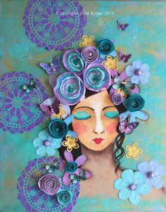 Mixed media Girl Face Art Purple Mauve Blue Aqua with 3d Dimensional embellishments