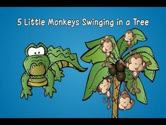 """My Five Little Monkey's Swinging In A Tree song has a fresh, new beat and music that will get your children singing and moving along. Using finger plays and songs in early childhood is a great way to help young children learn language, gain large and small motor skills, and work on memory social skills.  Kids move their fingers and their arms like monkeys swinging in a tree and with hands together out front and then as the crocodile """"snaps"""" at the monkey, children can do one hard """"clap""""."""