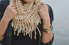 Plaid, fringe scarves, arm candy   giveaway.