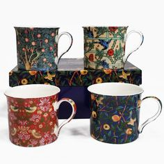This wonderful Set of 4 William Morris Birds Mugs are a delightful gift idea. Perfect New Home Gift for Tea, Coffee and Bird Lovers Copper Moscow Mule Mugs, Copper Mugs, William Morris Patterns, China Mugs, Stainless Steel Travel Mug, Arts And Crafts Movement, New Home Gifts, Textile Artists, Handmade Design