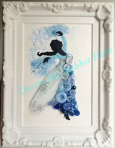 Elsa button art framed picture More