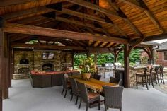 Outdoor Living Space is Complete with Fireplace, Kitchen and Flat Screen TV